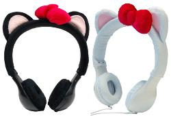 Emio Mix Monsters Wired Cat Ear Headphones (Black, White)