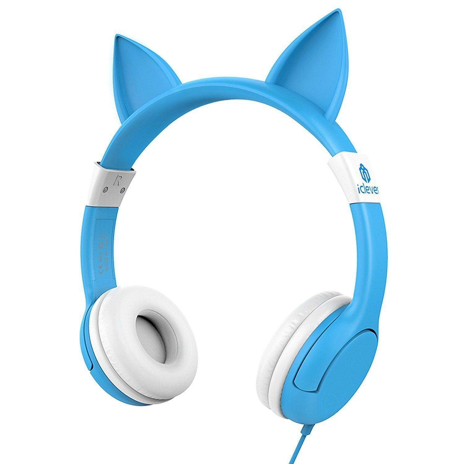 iClever BoostCare Wired Kids Cat Ear Headphones (Blue)