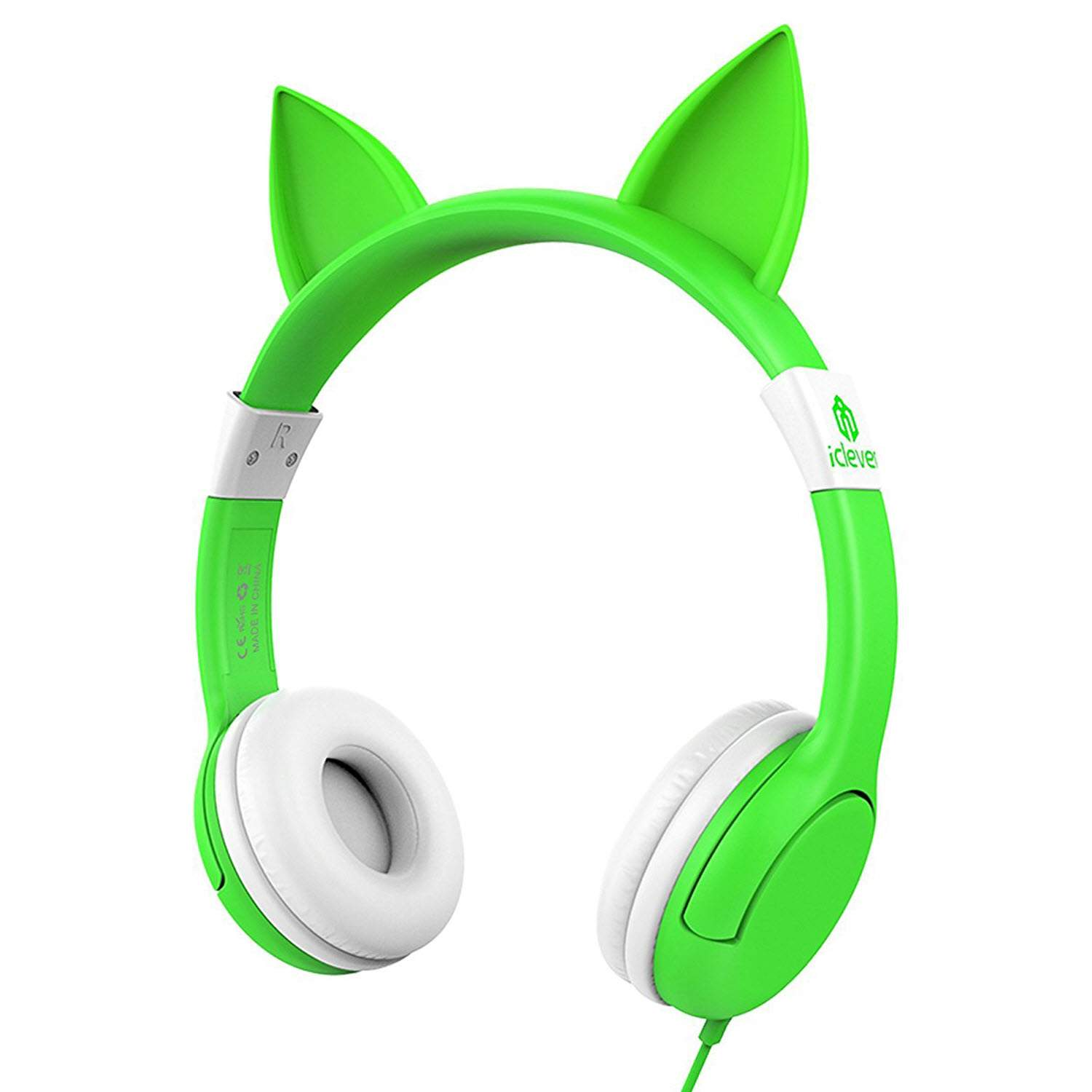 iClever BoostCare Wired Kids Cat Ear Headphones (Green)