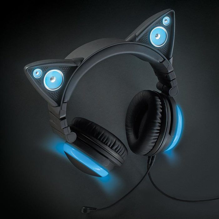 Brookstone Axent Wear Wired Cat Ear Headphones (Blue LED Lights)