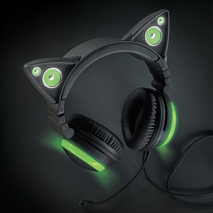 Brookstone Axent Wear Wired Cat Ear Headphones (Green LED Lights)