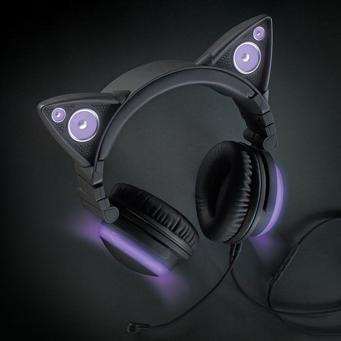 Brookstone Axent Wear Wired Cat Ear Headphones (Purple LED Lights)