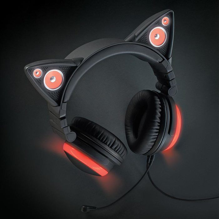 Brookstone Axent Wear Wired Cat Ear Headphones (Red LED Lights)