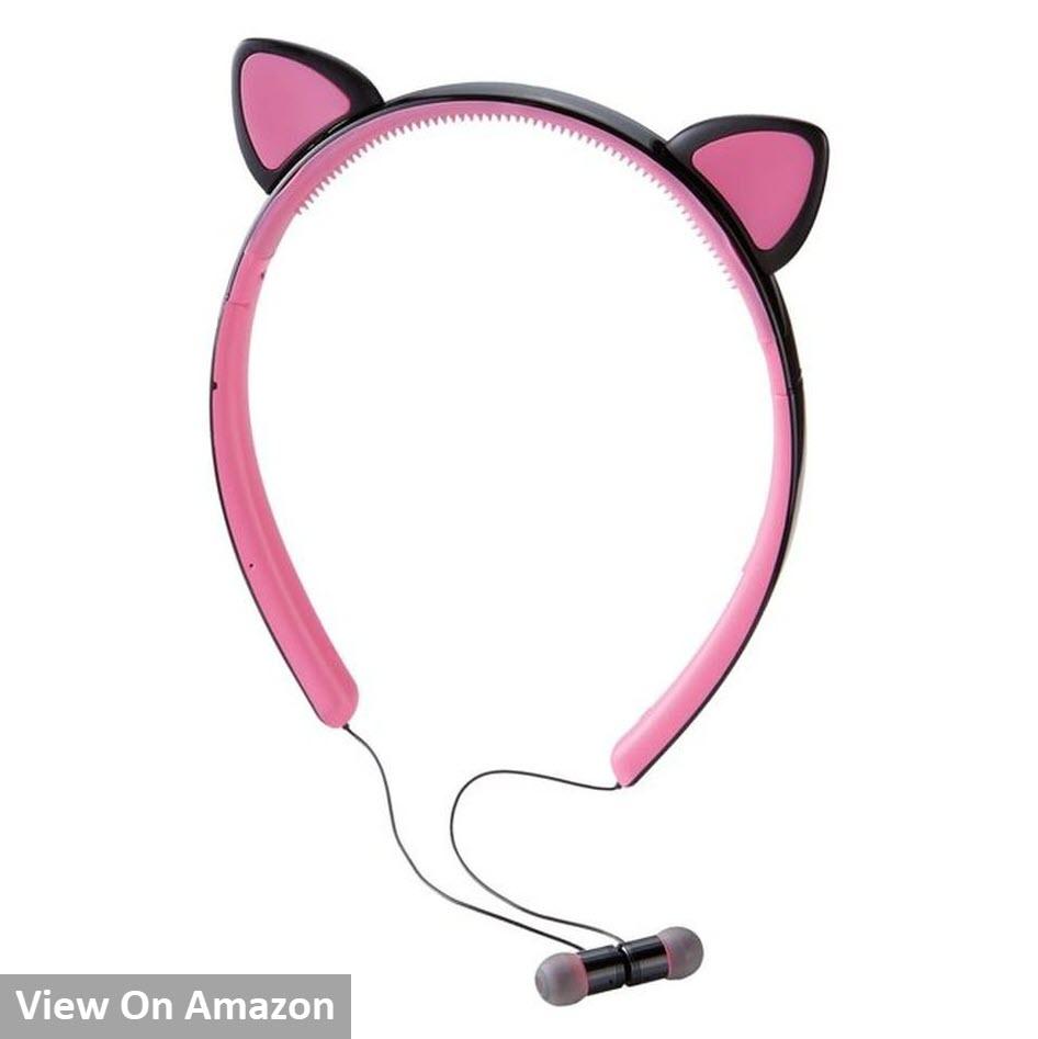 Brookstone Wireless Cat Earbuds (Pink / Black)