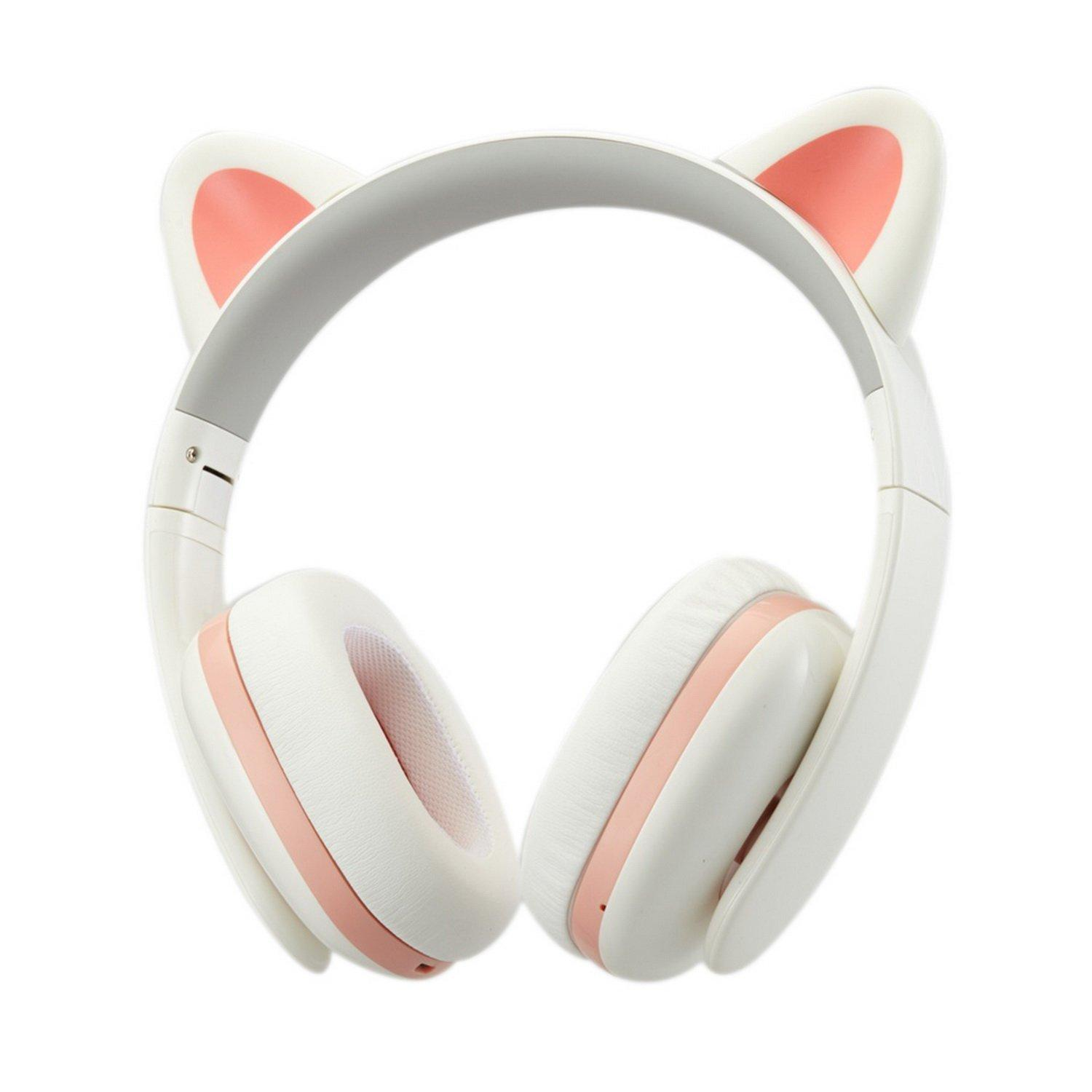 Censi Moecen Wireless Bluetooth Cat Ear Headphones with Detachable Cat Ears (White/Pink)