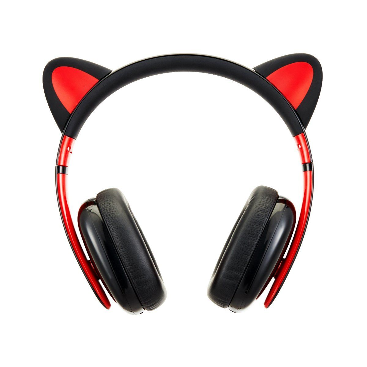 Censi Moecen Wired Cat Ear Headphones with Detachable Cat Ears (Black/Red)