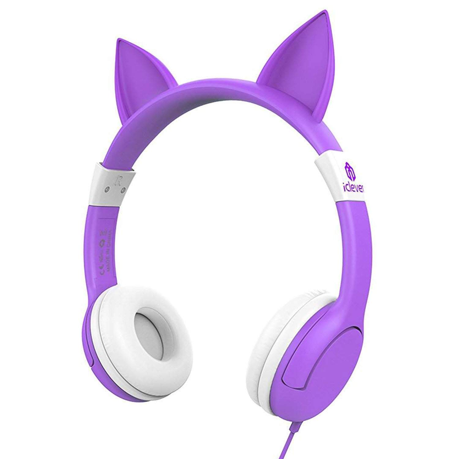 iClever BoostCare Wired Kids Cat Ear Headphones (Purple)